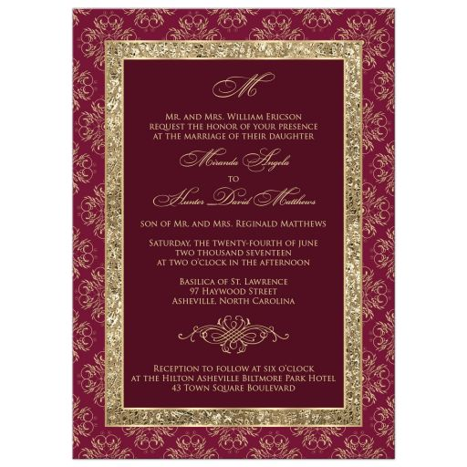 Burgundy gold ornate scrolls wedding invitation