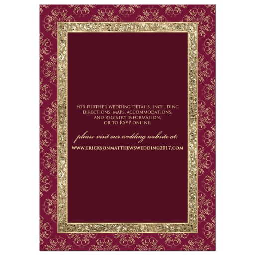 Great wine and gold damask pattern wedding invite