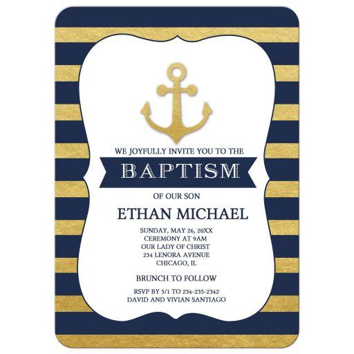 Gold and Navy Anchor Baptism Invitations
