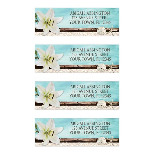 Address Labels - Beach Lily Seashells and Sand