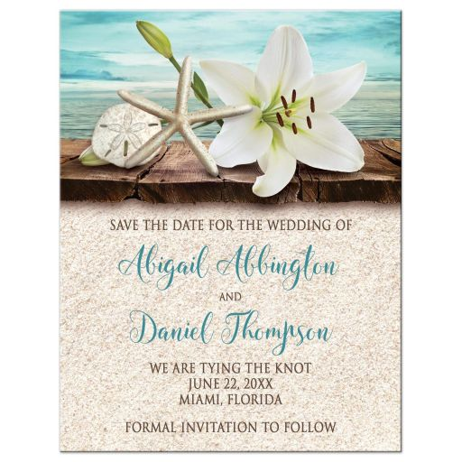 Save the Date Cards - Beach Lily Seashells and Sand