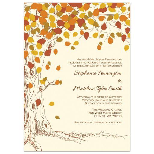 Fall autumn falling leaves wedding invitation