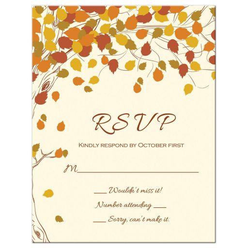 Fall leaves wedding RSVP flat card