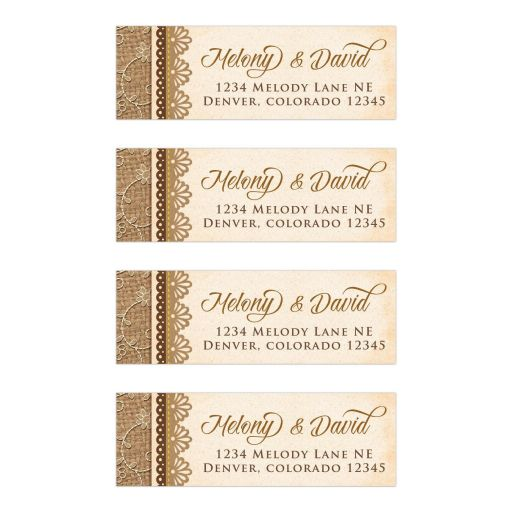 Elegant rustic burlap and lace wedding mailing labels