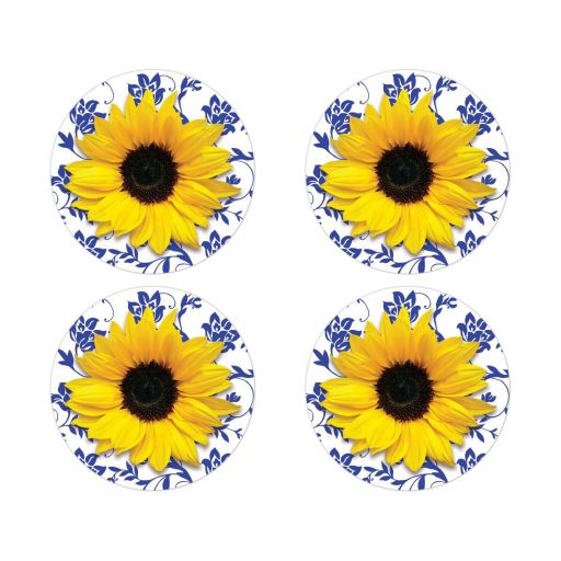 Yellow sunflower flower, royal blue and white damask floral wedding stickers or envelope seals