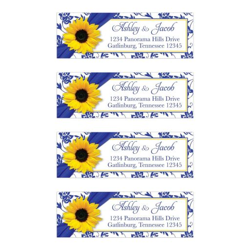Yellow sunflower flower, royal blue and white damask floral and ribbon personalized wedding address labels