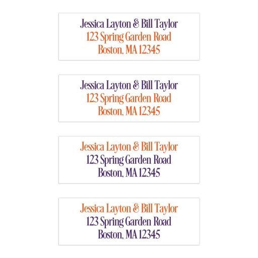 Great personalized purple, orange and white tropical wedding return address mailing labels with modern typography.