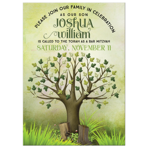 Tree of Life Bar Mitzvah Invitation