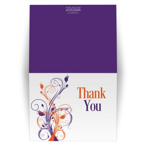 Great purple, orange and white tropical beach theme wedding thank you card with flowers, vines and modern typography.