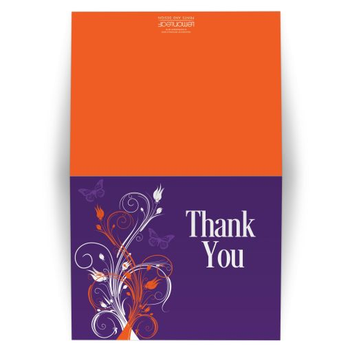 Great purple, orange and white tropical beach theme wedding thank you card with butterflies, flowers, vines and modern typography.