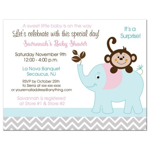 Girl monkey and elephant pink gray teal baby shower invitations girl monkey and elephant baby shower invitation filmwisefo Gallery