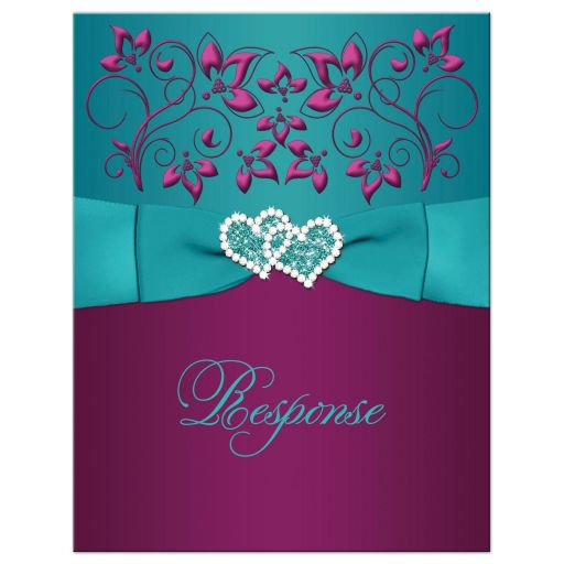 Great plum purple, teal blue and magenta pink floral wedding response card with ribbon, bow, jeweled joined hearts, ornate scrolls and flourish.