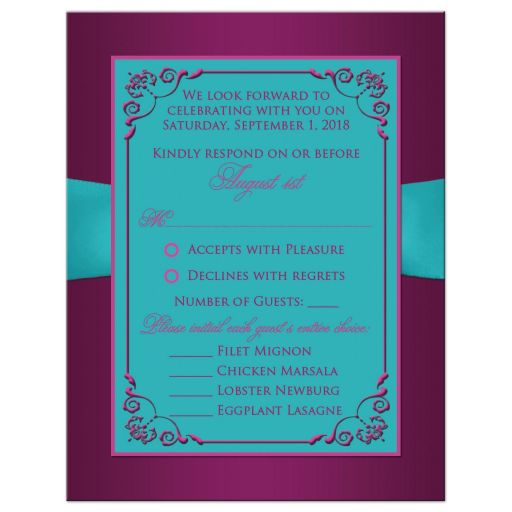 Plum purple, teal blue and magenta pink floral wedding rsvp card with ribbon, bow, jeweled joined hearts, ornate scrolls and flourish.