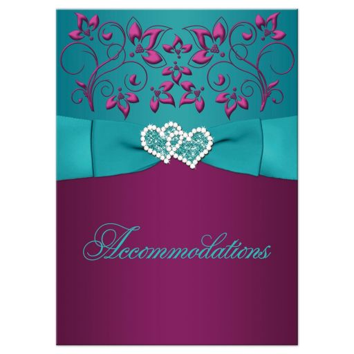Great plum purple, teal blue and magenta pink floral wedding accommodations enclosure insert card with ribbon, bow, jeweled joined hearts, ornate scrolls and flourish.