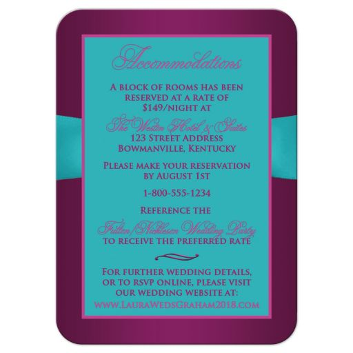 Plum purple, teal blue and magenta pink floral wedding accommodations enclosure card with ribbon, bow, jeweled joined hearts, ornate scrolls and flourish.