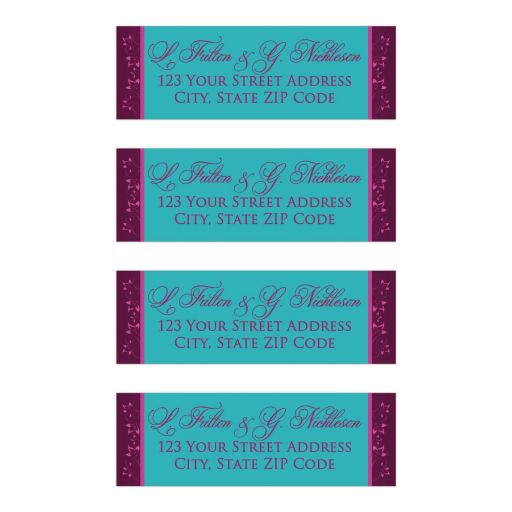 Personalized wedding address mailing labels in teal blue-green with dark plum purple and magenta pink flowers.