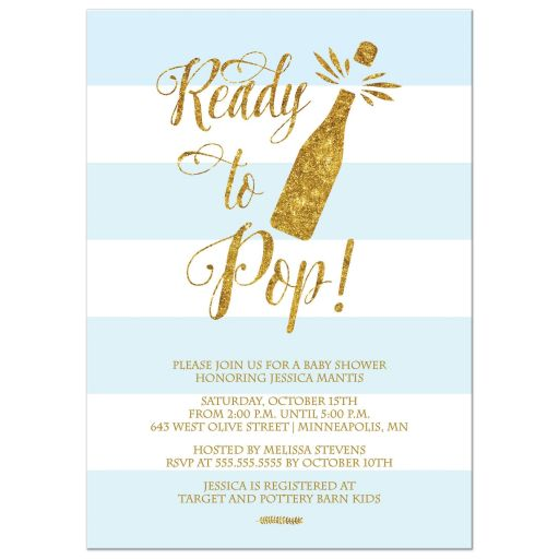 Ready to Pop Baby Shower invitation blue gold champagne glitter