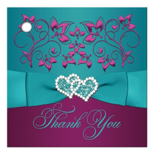 Great plum purple, teal blue and magenta pink floral wedding favor thank you gift tag with ribbon, bow and jeweled joined hearts.