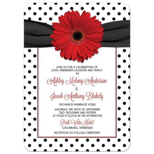 Retro red gerbera daisy, black and white polka dot and ribbon wedding invitation front