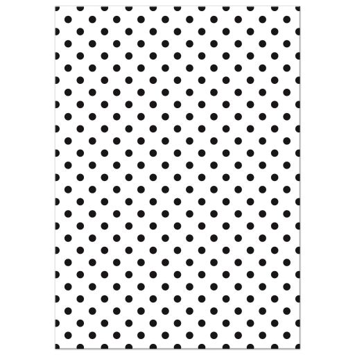 Retro red gerbera daisy, black and white polka dot and ribbon wedding invitation back