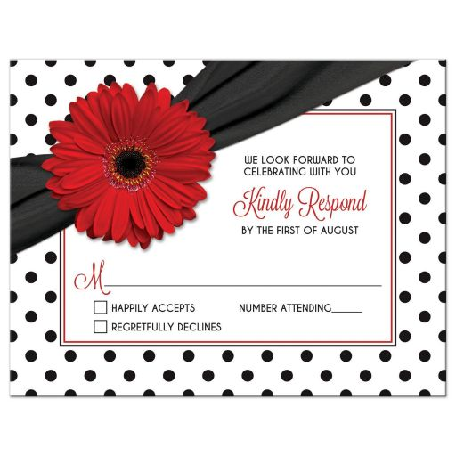 Retro red gerbera daisy, black and white polka dot and ribbon wedding RSVP card front