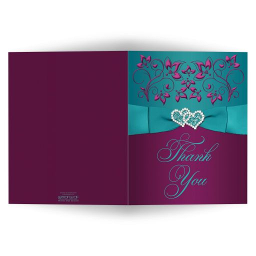 Great plum purple, teal blue and magenta pink floral wedding thank you cards with ribbon, bow, jeweled joined hearts and ornate scrolls.