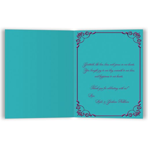 Plum purple, teal blue and magenta pink floral wedding thank you cards with ribbon, bow, jeweled joined hearts and ornate scrolls.