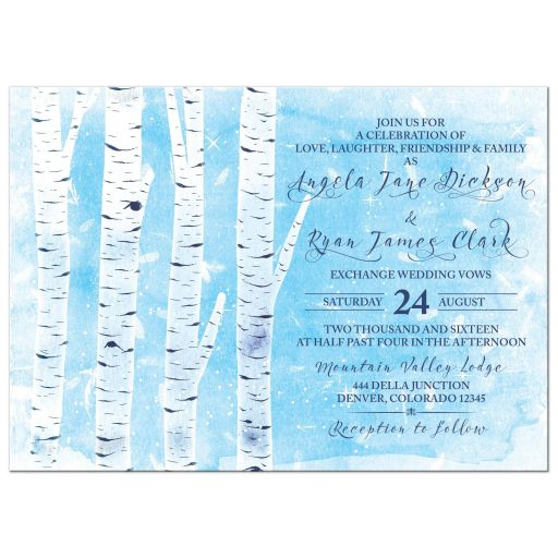 Unique winter birch tree wedding invitation in navy blue, sky blue, and white front
