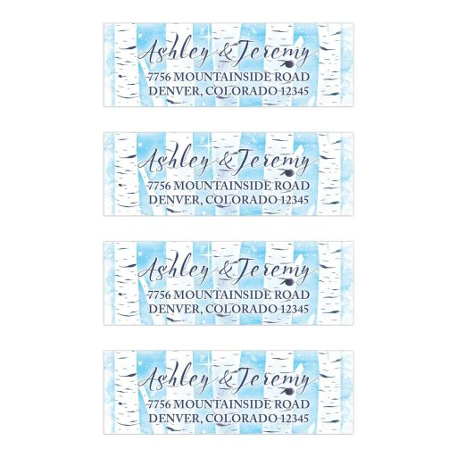 Unique winter birch tree wedding address labels in navy blue, sky blue, and white