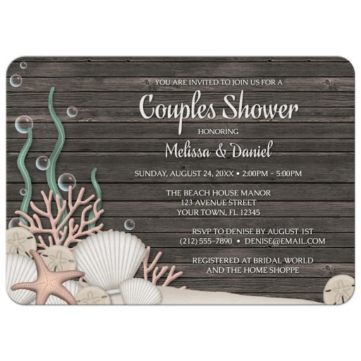 Couples Shower Invitations - Rustic Beach and Wood