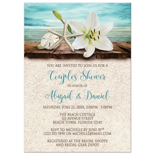 Couples Shower Invitations - Beach Lily Seashells and Sand