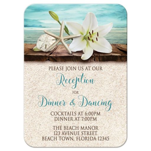 Reception Cards - Beach Lily Seashells and Sand