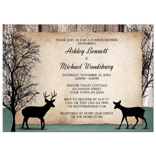 Couples Shower Invitations - Deer Rustic Woodsy