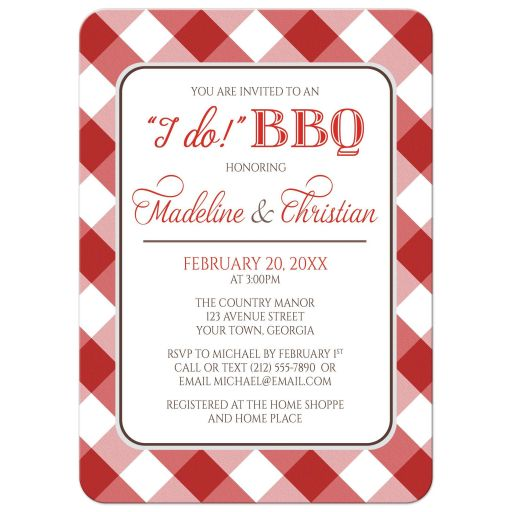 Couples Shower Invitations - I Do BBQ Red Gingham Country