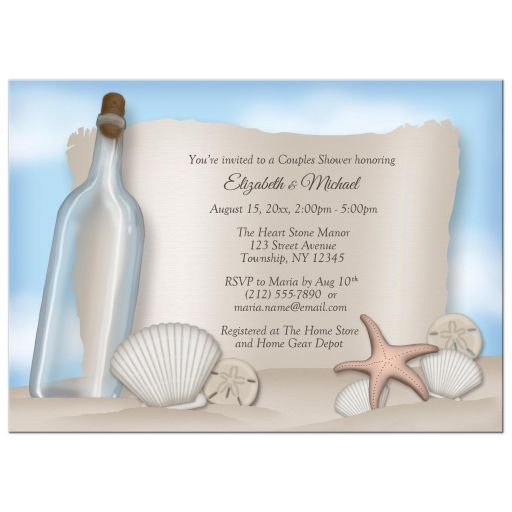 Couples Shower Invitations - Beach Message from a Bottle