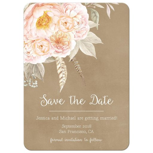 Vintage pink peony floral bouquet kraft save the date announcement