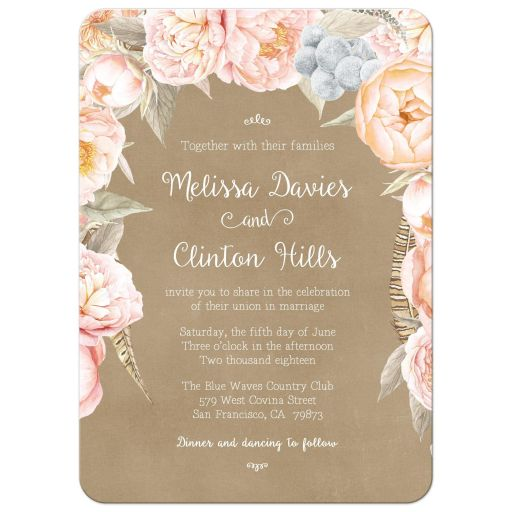 Vintage pink peony floral border wedding invitation