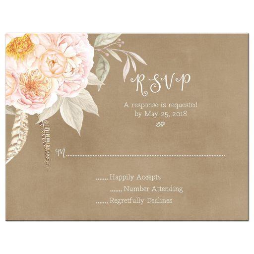 Vintage pink peony floral bouquet wedding RSVP flat card
