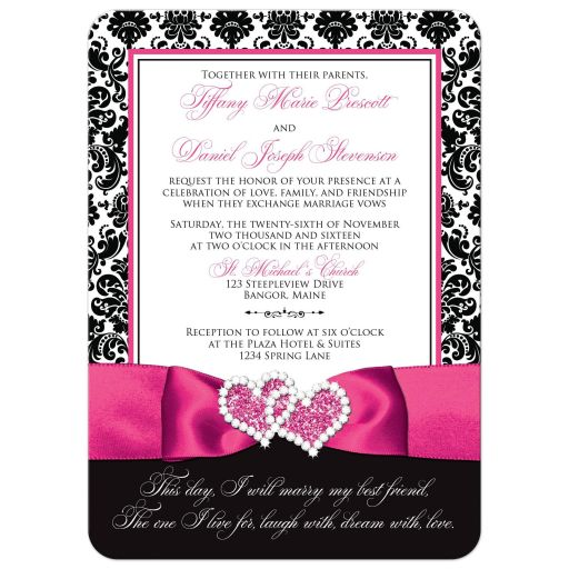 Great black and white damask wedding invitations with fuchsia pink ribbon and jewelled joined hearts brooch