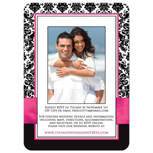 Best fuchsia pink, black and white damask wedding invites with ribbon and jewelled joined hearts buckle