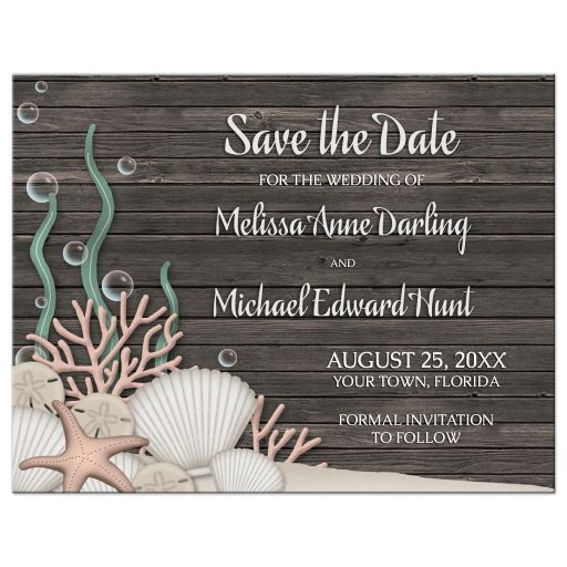 Save the Date Cards - Rustic Beach and Wood