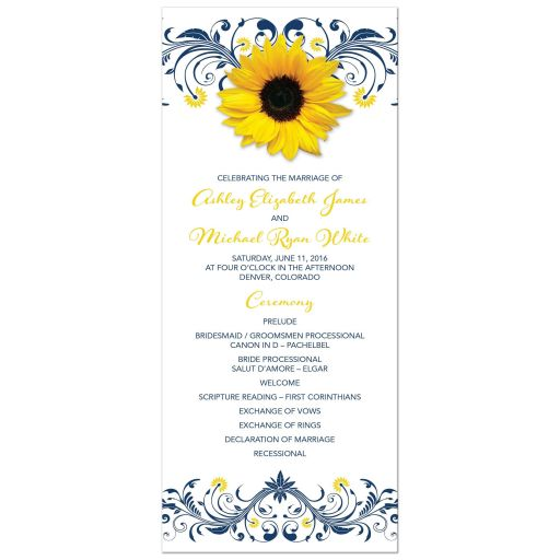 ​Yellow sunflower, navy blue flourish floral wedding program front