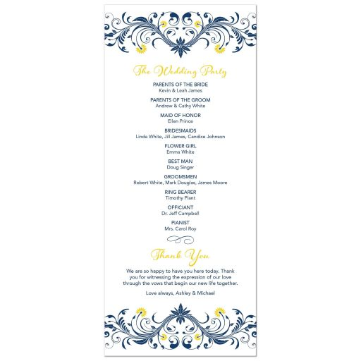 ​Yellow sunflower, navy blue flourish floral wedding program back