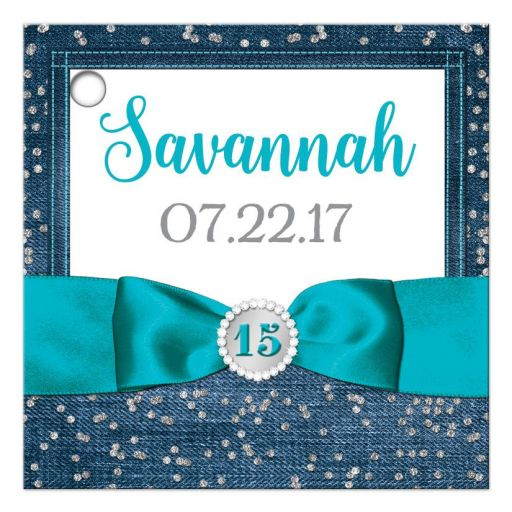 Great personalized blue denim and diamonds Quinceanera party favor gift tags with silver glitter confetti, turquoise blue ribbon and bow, decorative tiara, and a round faux diamonds and silver buckle brooch with 15 on it.