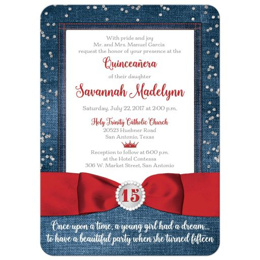 Great blue denim and diamonds Quinceanera invitation with silver glitter confetti, red ribbon and bow, decorative tiara, and a round faux diamonds and silver buckle brooch with 15 on it.