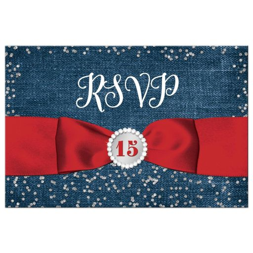 Great blue denim and diamonds red, white and blue patriotic Quinceanera rsvp postcards with silver glitter confetti, red ribbon and bow, decorative tiara, and a round faux diamonds and silver buckle brooch with 15 on it.