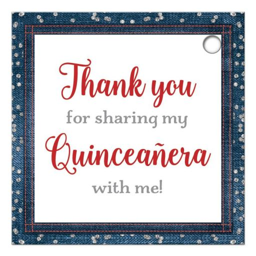 Patriotic red, white and blue denim and diamonds Quinceanera party favor gift tags with silver glitter confetti, red ribbon and bow, decorative tiara, and a round faux diamonds and silver buckle brooch with 15 on it.