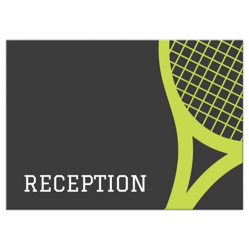 Tennis Bar Mitzvah reception card with green tennis racket