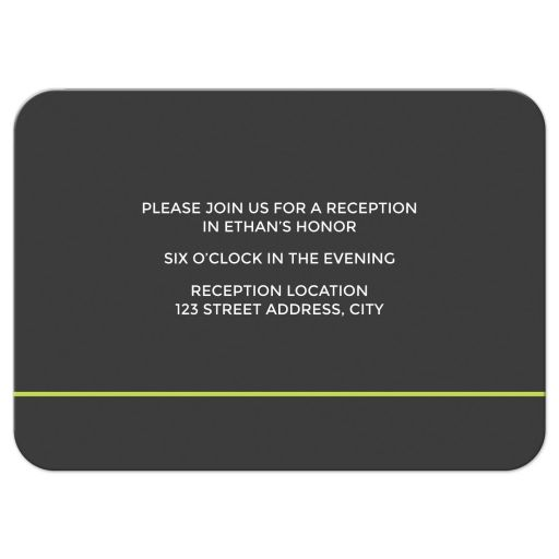 Modern and masculine tennis Bar Mitzvah reception card