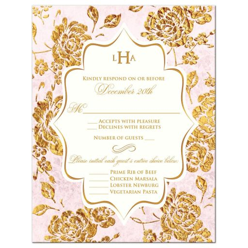 Vintage blush pink, ivory and gold floral wedding RSVP enclosure cards with monogram and scroll.
